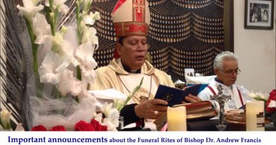 Announcements about the Funeral Rites of Bishop Andrew Francis